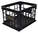 United Solutions Organize Your Home CR0093 Black Plastic Inter-Locking Modular Crate -Plastic Modular Crate in Black Snaps Together for Space Saving Storage/Organization in Home, Office or Dorm Room