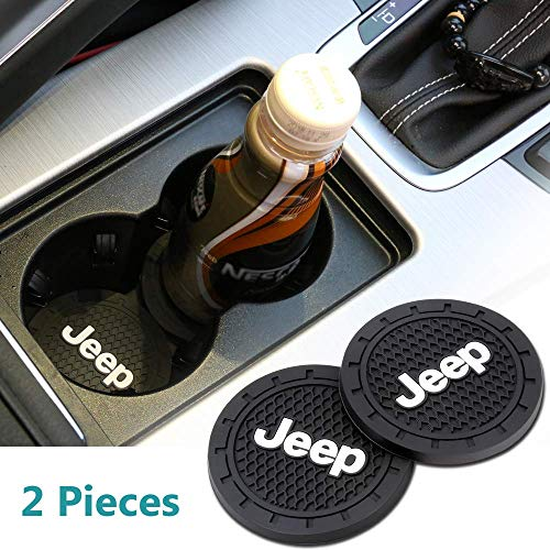 Auto sport 2.75 Inch Diameter Oval Tough Car Logo Vehicle Travel Auto Cup Holder Insert Coaster Can 2 Pcs Pack (Jeep)