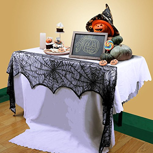 OLABB Halloween Decorations Fireplace Scarf Cover DIY Multipurpose Spider Web Black Lace]()