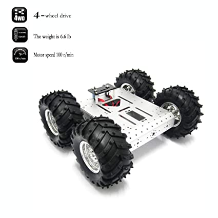 4WD Robot Chassis Kit Smart Off-Road Car Kit Robot Car Aluminum Alloy  Chassis Mobile Robot Platform Withcoded Disc 4 DC Motor with Speed Encoder