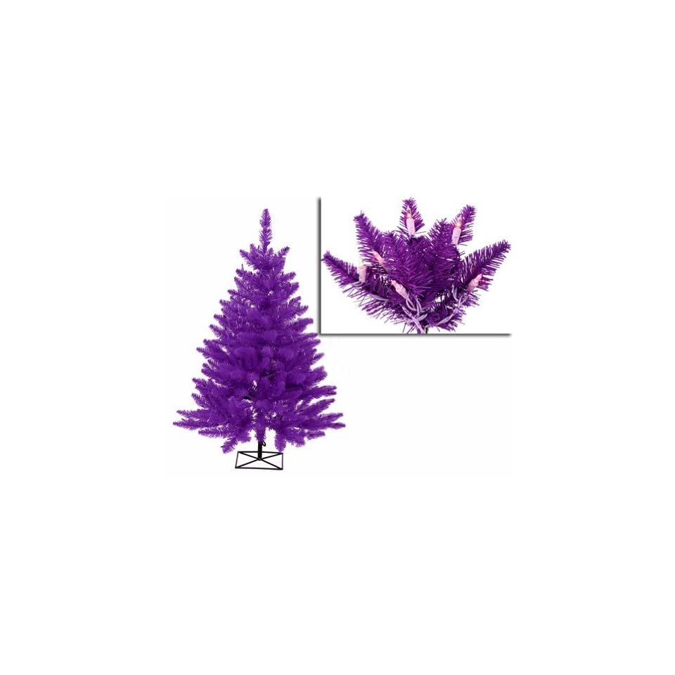 3 Pre Lit Purple Ashley Spruce Artificial Christmas Tree   Purple/Clear Lights