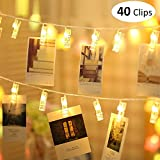 MESUNKA LED Photo String Lights, 40 LED Photo Clips String Lights (16.4 ft), Battery Powered for Home Party Decor, Hanging Picture Frame for Party Wedding Dorm Bedroom Birthday Christmas Decorations