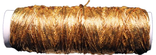 Creative Hobbies Thin Metallic Elastic Beading, Jewelry, Tinsel Cord, 50 Yard Roll - Gold