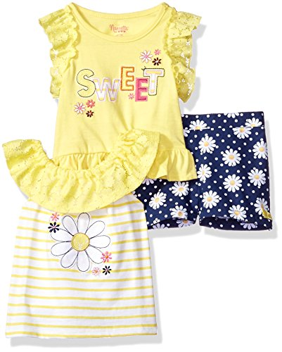 Nannette Baby Girls' 3 Piece Knit Tops and Printed Woven Short Set, Yellow, (Nannette 3 Piece)