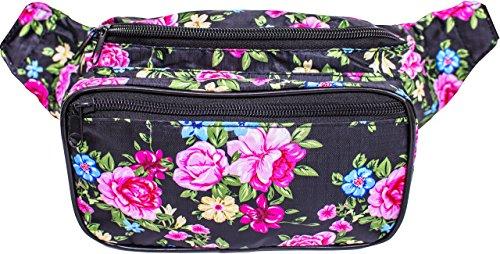 SoJourner Bags Fanny Pack - Flower, Floral, Rose (Pink / Yellow / Black)