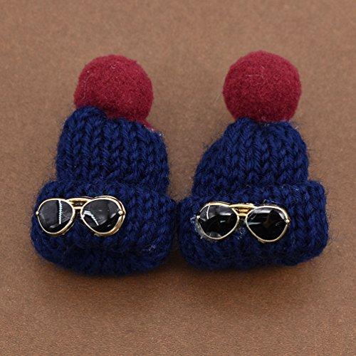 d'oreille Chapeau Bleu Foncé d'oreille Femme Lunette de Mignon Soleil Hongma Fille Pompon Clou Boucle Mini OIFqcv