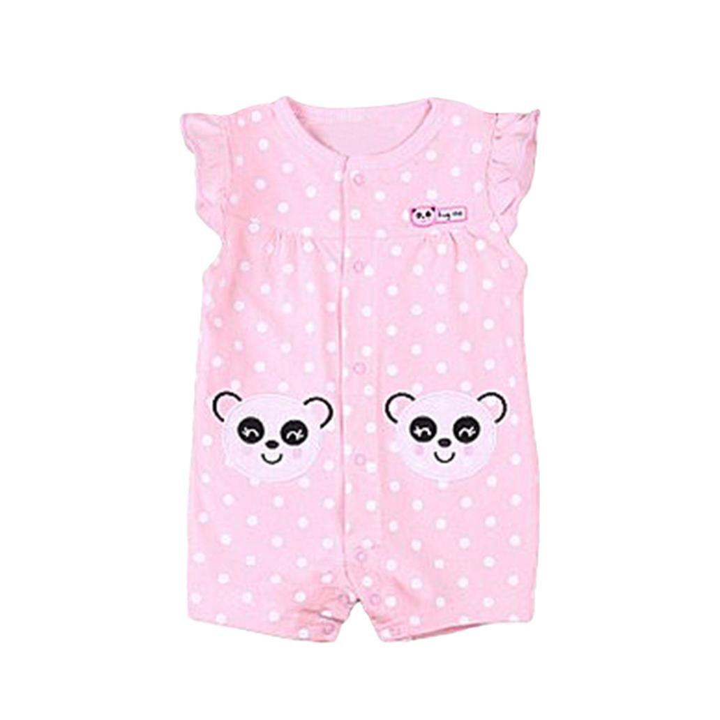QinMM Mono de Dibujos Animados de Bebé Niña, Camisa Body Panda Sin Mangas de Verano