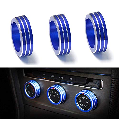 iJDMTOY 3pcs Blue Anodized Aluminum AC Climate Control Ring Knob Covers For Volkswagen MK7 Golf GTI