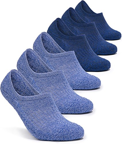 TSLA 6-Pairs Atheltic No Show Socks Cushioned Comfort w Mesh, Zero Heel Grip(mzs07) - Light Blue & Blue, Medium (5~8.5)