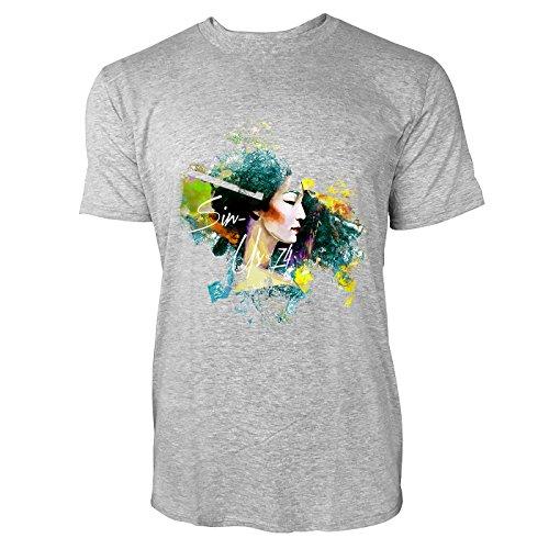 SINUS ART® Asiatische Frau im Colour Splash Stil Herren T-Shirts in hellgrau Fun Shirt mit tollen Aufdruck