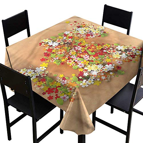 haommhome Elegance Engineered Tablecloth Floral Summer Sale Banner Art Excellent Durability W70 xL70 Great for Buffet Table (Sale Buffet Chinese For Table)