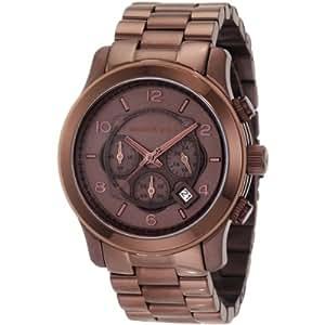 Michael Kors Runway MK8204 - Reloj cronógrafo de cuarzo para hombre, correa de acero inoxidable chapado color marrón (cronómetro, agujas luminiscentes)