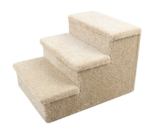 Penn Plax 3 Step Carpeted Pet Stairs for Both Cats and Dogs Holds Up To 150 LBS 12.75 Inches High