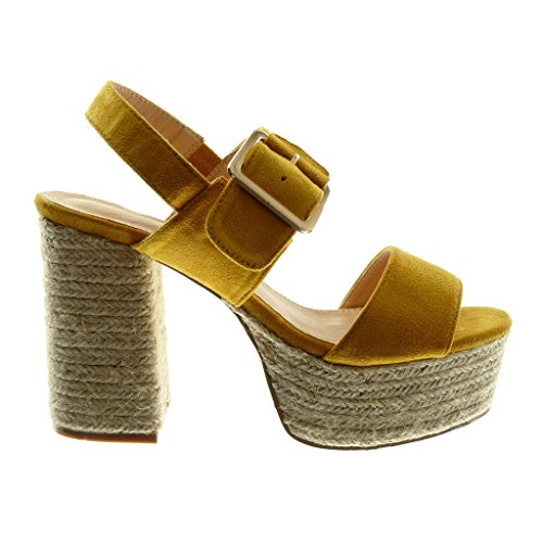 Angkorly Women's Fashion Shoes Sandals Mules - Ankle Strap - Platform - Cord - Thong - Buckle Block High Heel 11 cm Mustard pYhkrsoQBd
