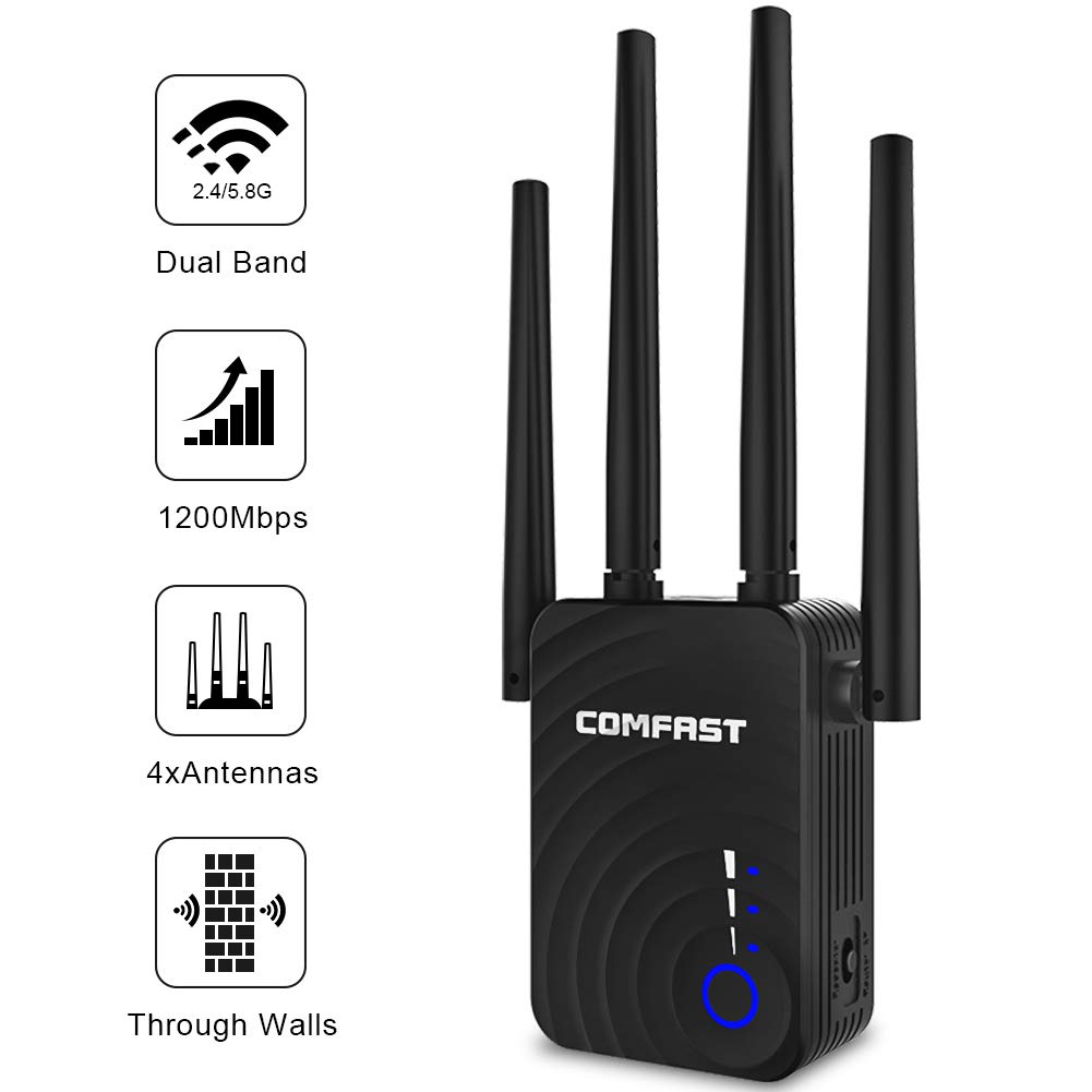WiFi Extender   1200Mbps WiFi Booster Signal Amplifier   2.4&5GHz Dual Band WiFi Repeater Range Extender, 4 WiFi Antenna 360° Full Coverage Network   Compatible with Alexa/Extends WiFi to Smart Home