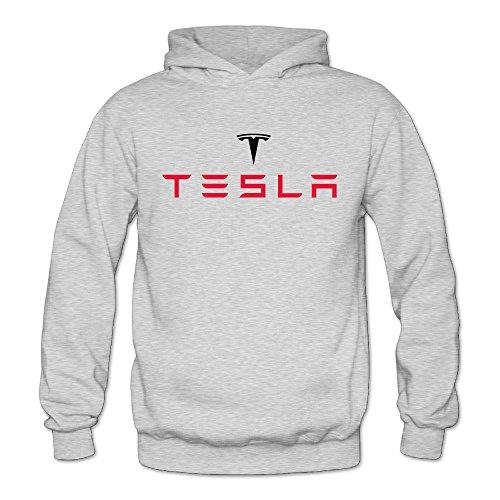 ITMEIAL Women's Tesla Logo Hoodies Ash XL