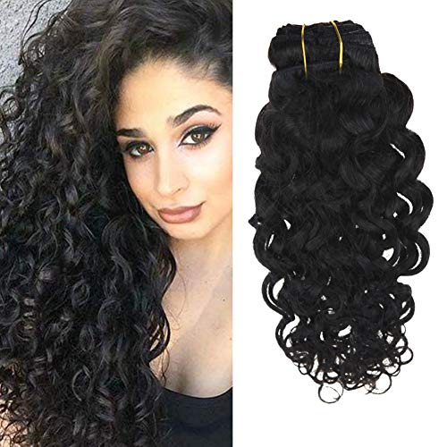 Ugeat 16inch Natural Wave Weave Clip in Hair Extensions Human Hair For Black Women Unprocessed Clip on Wavy Hair Extensions Full Head 120Gram 7Pcs ()