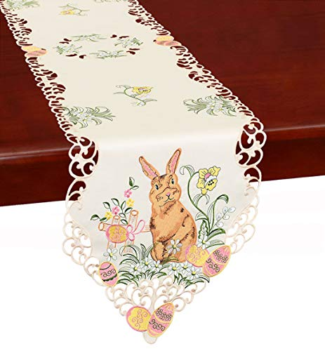 Simhomsen Embroidered Bunny Table Runners, Easter Holiday Season Decorations, Dresser Scarves (14 x 52 Inch)