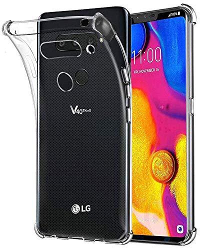 LG V40 Case, LG V40 ThinQ Case, LG V40 Case Clear, SKTGSLAMY Soft TPU Case Crystal Transparent Slim Anti Slip Case Back Protector Case Cover for LG V40 ThinQ/LG V40 Storm (Clear)