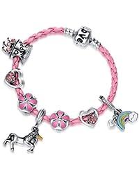 Pink Unicorn Birthday Charm Bracelet Jewelry Gifts for Girls