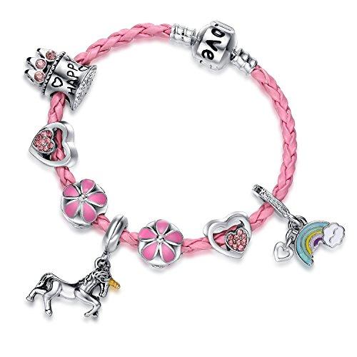 Pink Unicorn Birthday Charm Bracelet Jewelry Gifts for Girls (6.5) by Doctor Unicorn (Image #6)
