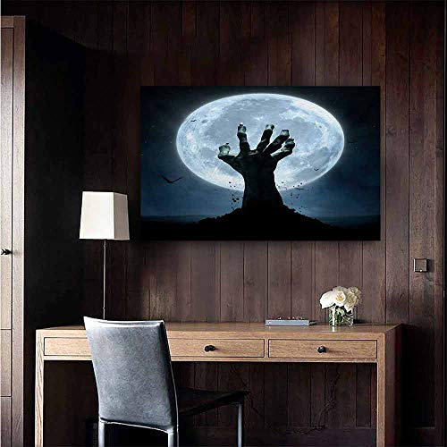 duommhome Halloween Modern Oil Paintings Realistic Zombie Earth Soil Full Moon Bat Horror Story October Twilight Themed Canvas Wall Art 20