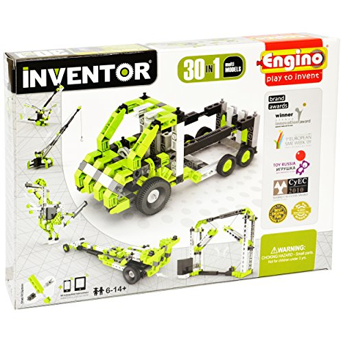 Engino Inventor - 30-IN-ONE |BUILD 30 Motorized Models | Assemble Drag Racer, Drawbridge,  Truck , T-Rex, Helicopter, Elevator and so much more | STEM Construction Kit