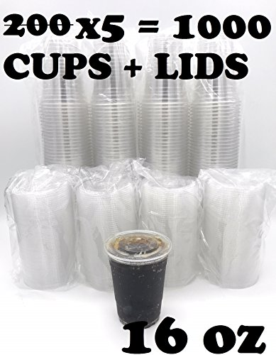 (1000 SETS) Plastic Disposable Cups with Lids - Premium 16 oz (ounces) Crystal Clear PET for Cold Drinks Iced Coffee Tea Juices Smoothies Slush Soda Cocktails Beer Sundae Kids Safe (16oz Cups + Lids)