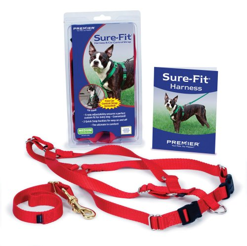 Premier Pet Sure Small Fit Dog Harness with Matching Car Control Strap, Red - Petsafe Dog Vest