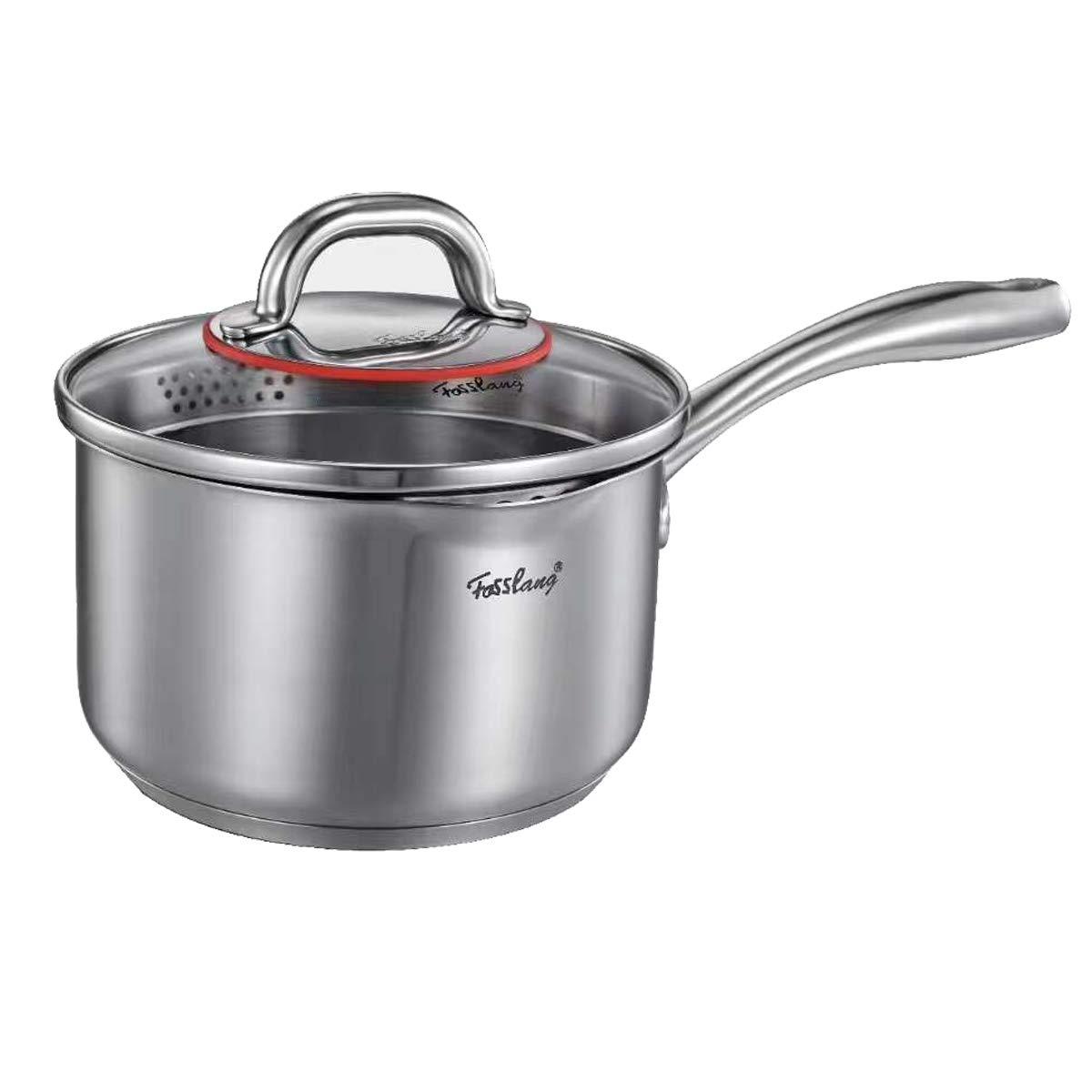 Stainless Steel Saucepan, Fosslang Milk Pot with Glass Lid, Induction Hob Milk Pan - 16cm/1.5L