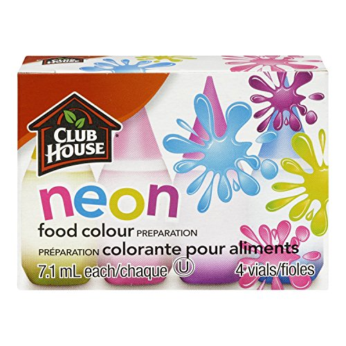 Club House Food Colour NEON LIQUID FOOD COLORING KIT of 4 colors (0.25 oz each) Pack Of 2 by Club House
