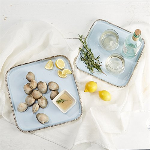 Two's Company Villa d Este Set of 2 Enameled Square Trays with Twisted Silver Border