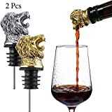 2 Pieces Lion Wine Pourer, Wine Pourer Aerator, Menagerie Wine Pourer, Animal Pourer, Stainless Steel Wine Stopper Pourer Wine Accessories Game Style