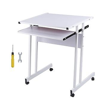 Homgrace Mesa de Ordenador en Forma de Z, Mesa de Escritorio con 4 Ruedas para Fácil de Mover para Hogar u Oficina (Blanco): Amazon.es: Hogar