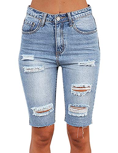 ACKKIA Women's Casual Ripped Stretchy Denim Pants Distressed Bermuda Skinny Shorts Destroyed Jeans Light Blue Size Large (Fits US 10 - US 12)