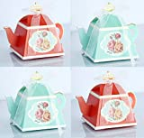 TECH-P Creative Life 50Pcs/Pack (25 Pink+25 Blue)Mini Teapot Shape Wedding Favors Candy Boxes Gift Box Party Favor Boxes with Ribbons for Wedding, Party Decorations