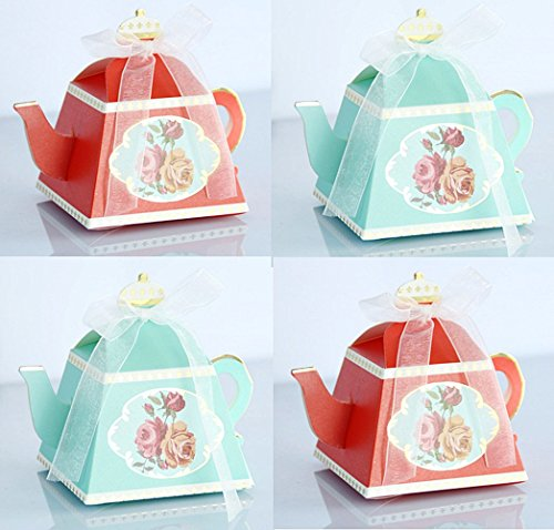 - TECH-P Creative Life 50Pcs/Pack (25 Red+25 Green) Mini Teapot Shape Wedding Favors Candy Boxes Gift Box Party Favor Boxes with Ribbons for Wedding, Party Decorations