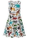 Toddler Girls Summer Dress Animal World Sleeveless Casual Dress for Kids 4-5T