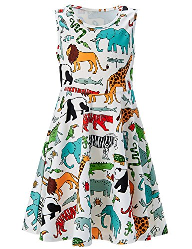 Girls Sleeveless Dress 3D Print Cute Animal World Lion Giraffe Elephant Pattern White Summer Dress Casual Swing Theme Birthday Party Sundress Toddler Kids Twirly Skirt, Animal World, ()