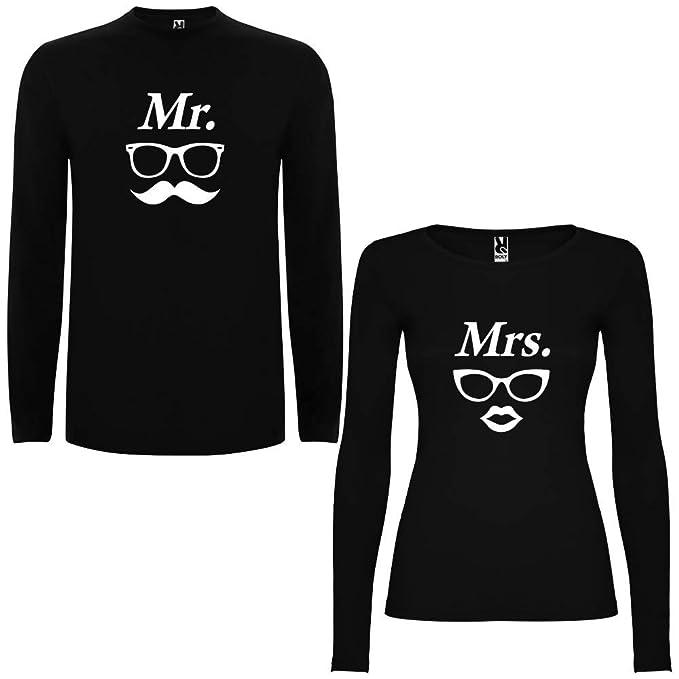 Pack de 2 Camisetas Negras Manga Larga para Parejas Mr. II y Mrs. II