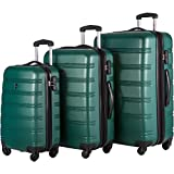 Travelhouse Luggage Set 3 Piece Expandable Lightweight Spinner Suitcase (Green)