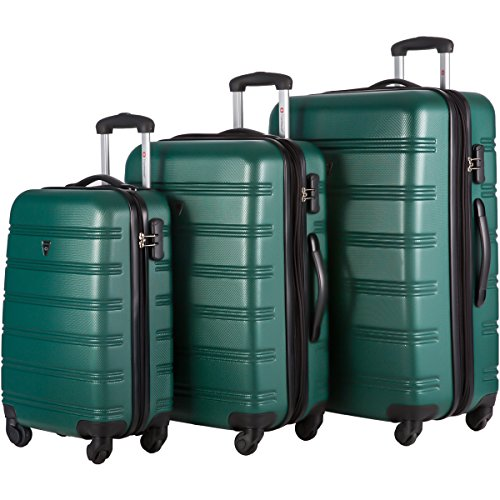 Travelhouse Luggage Set 3 Piece Expandable Lightweight Spinner Suitcase (Green) by Travelhouse