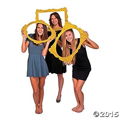"Gold Glitter Picture Frame Cutouts - 3 Piece Set - 16"" X 23"""
