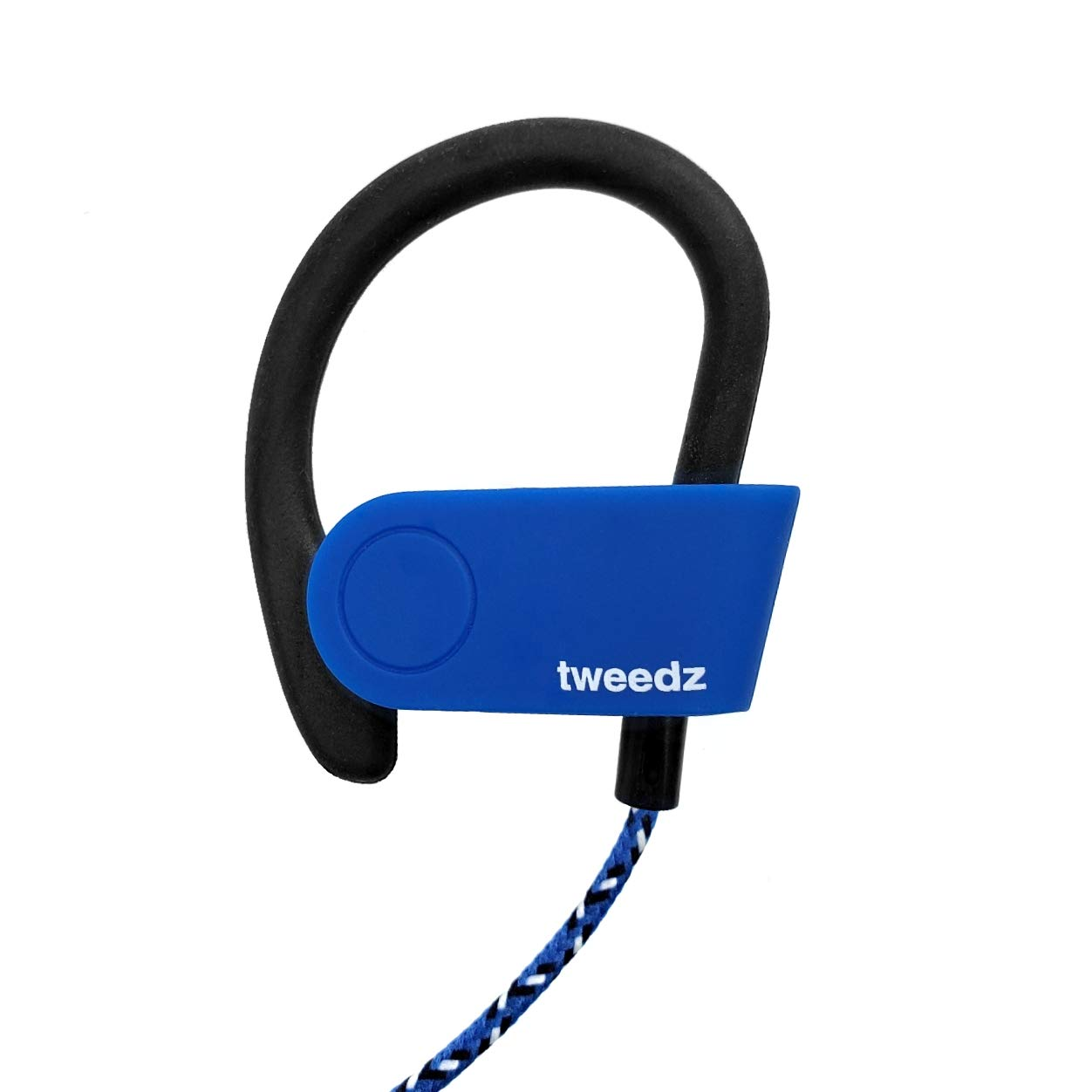 Tweedz Sport Bluetooth Wireless Earbuds with Microphone – Durable Earphones with Runners Earhook and Nylon Wrapped Lanyard Blue