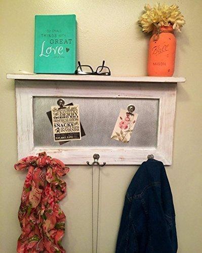 entryway shelf, coat rack, galvanized metal, wood shelf, metal shelf, Rustic Shelf, chippy paint by Country Corner Goods (Image #1)