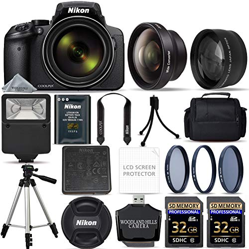 Nikon COOLPIX P900 Digital Camera with 83x Optical Zoom and Built-in Wi-Fi (Black) + 64GB Ultimate Starter Bundle. Includes 2X Memory Cards + 3 Piece Filter Kit + Tripod + -