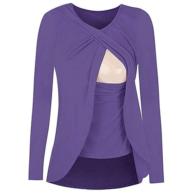 Cinnamou Blusas para Mujeres Embarazadas,Patchwork Camisa de Manga Largo para Mujer Casual Camiseta Mujer