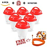 kelly's home & more Hard Boiled Egg Maker Set FREE Silicone Egg Ring 6pack, Silicone Egg Cooker Hard Boiled Eggs, Hard&Soft Maker, BPA Free, Non Stick Silicone, Boiled, Steamer, Poached