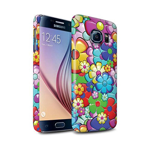 STUFF4 Matte Hard Back Snap-On Phone Case for Samsung Galaxy S6/G920/Vibrant Flower Power Design/Hippie Hipster Art Collection
