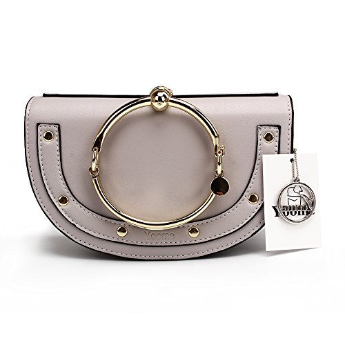 Bag Ring (Yoome Elegant Rivets Punk Style Circular Ring Handle Handbags Cute Lune Satchel Round Bracelet Wristlet Crossbody Bags For Girls - Grey.lune - Upgraded Version)